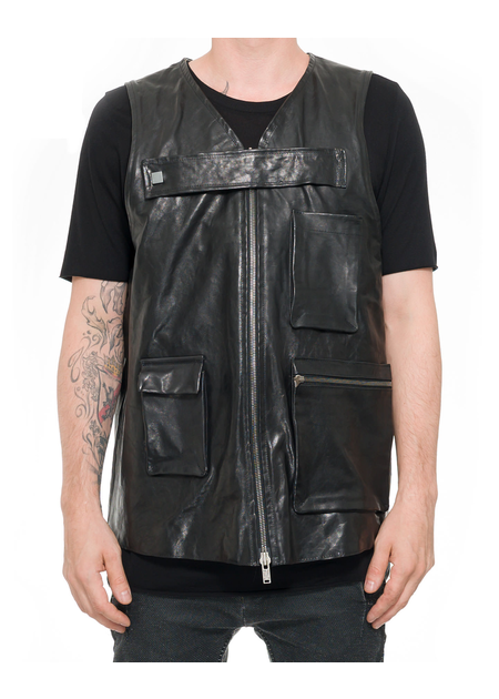 10SEI0OTTO OVERSIZE LEATHER UTILITY VEST
