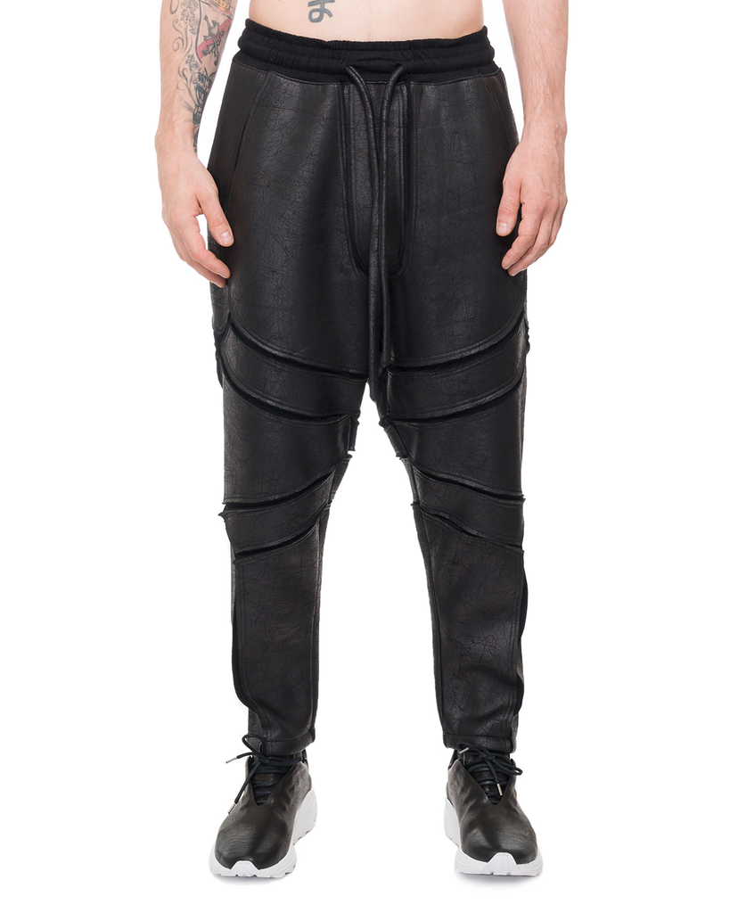 PATCHWORK LEATHER EFFECT PANTS