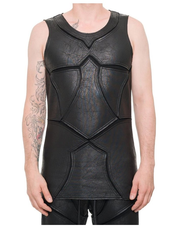 DAVID'S ROAD PATCHWORK LEATHER EFFECT TANK TOP