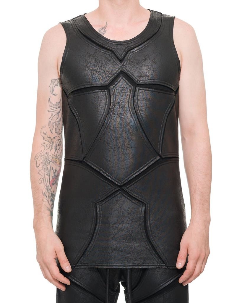 PATCHWORK LEATHER EFFECT TANK TOP