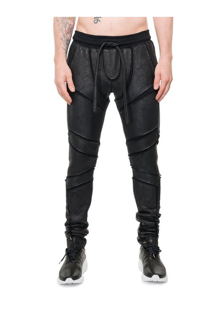 DAVID'S ROAD PATCHWORK ARMOR LEATHER EFFECT LEGGINGS