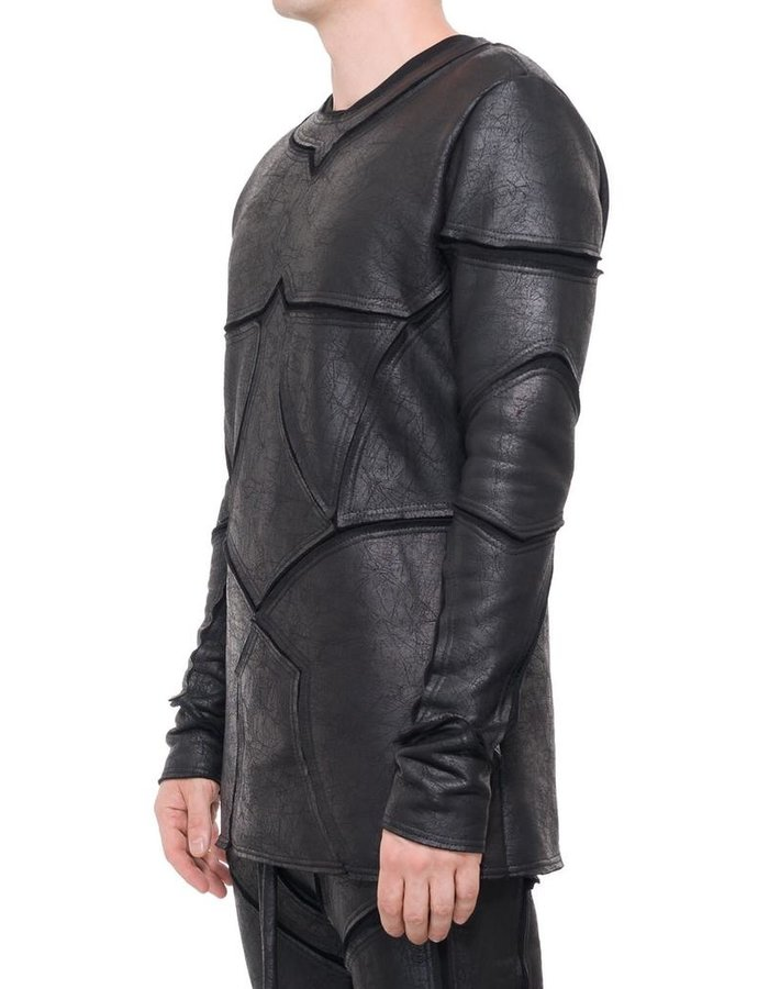 DAVID'S ROAD PATCHWORK LEATHER EFFECT LONG SLEEVE TOP