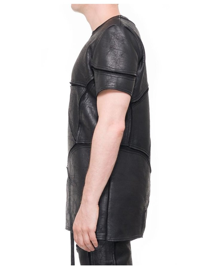 DAVID'S ROAD PATCHWORK LEATHER EFFECT T SHIRT