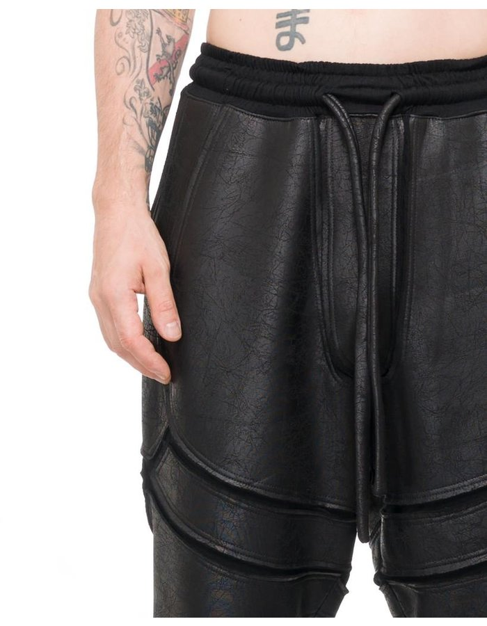 DAVID'S ROAD PATCHWORK LEATHER EFFECT PANTS