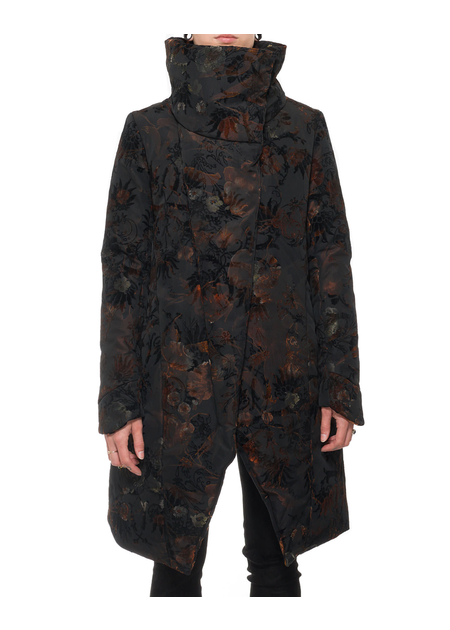 139DEC DARK FLOWER FUNNEL NECK LONG COAT