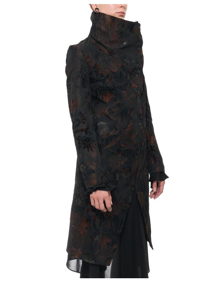 139DEC DARK FLOWER FUNNEL NECK LONG JACKET