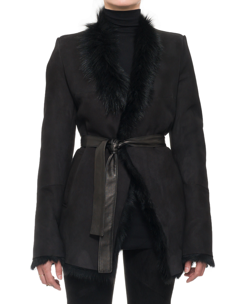 LONG HAIR SHEARLING BELTED COAT