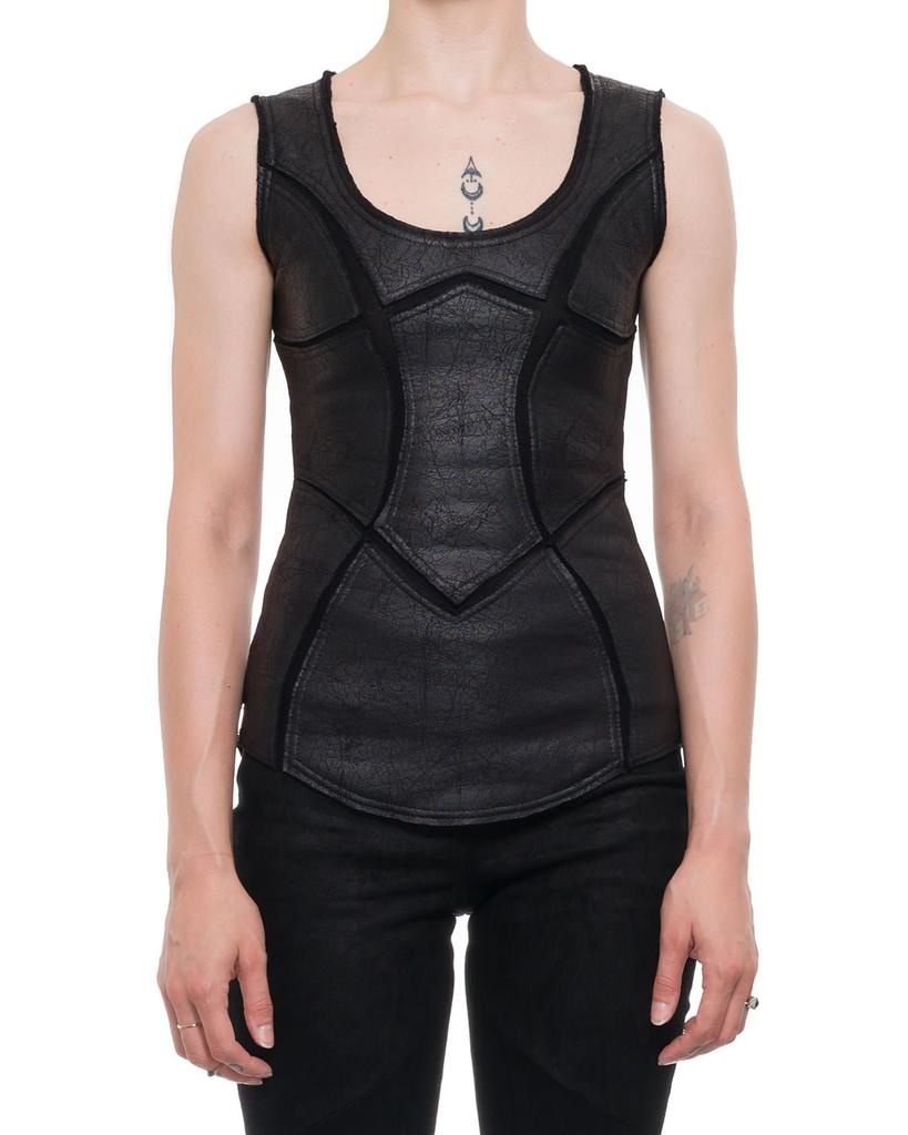 PATCHWORK LEATHER EFFECT TANK  TOP W