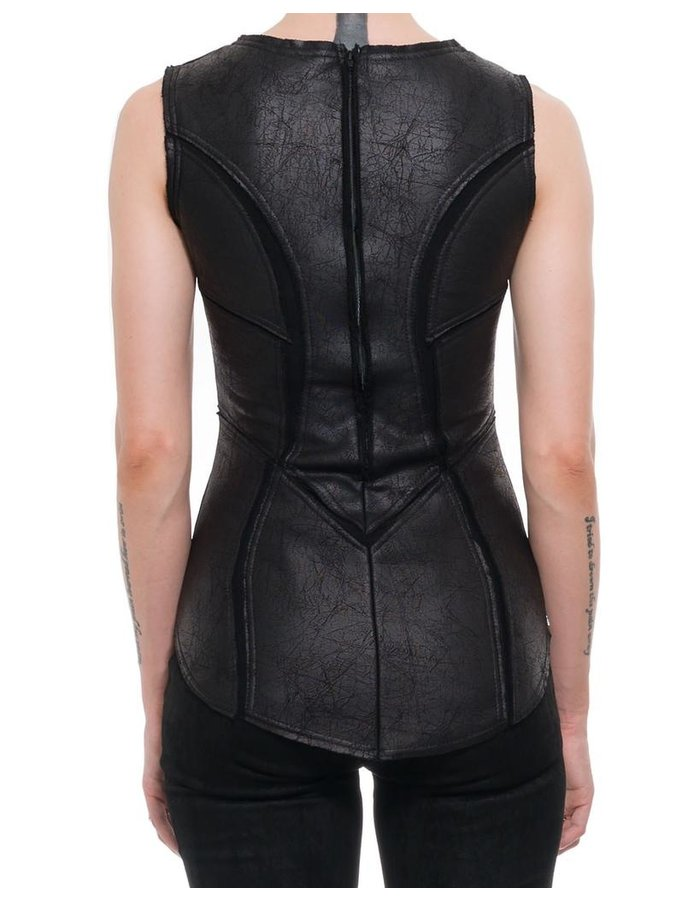 DAVID'S ROAD PATCHWORK LEATHER EFFECT TANK  TOP W