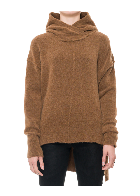 ISABEL BENENATO YAK HOODED  BOXY TURTLENECK