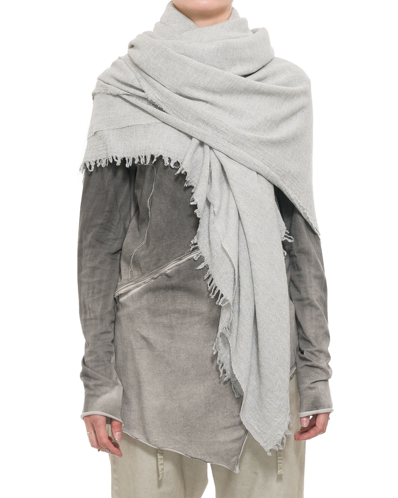 WOOL AND VISCOSE RAW EDGE SCARF