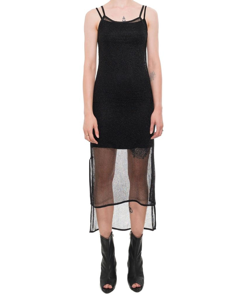 ASYMMETRIC NET DRESS W SLIP