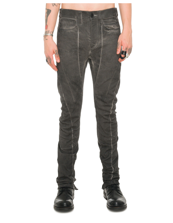 D. HYGEN DIRTY COATING COLD DYED CURVED SLIM PANTS