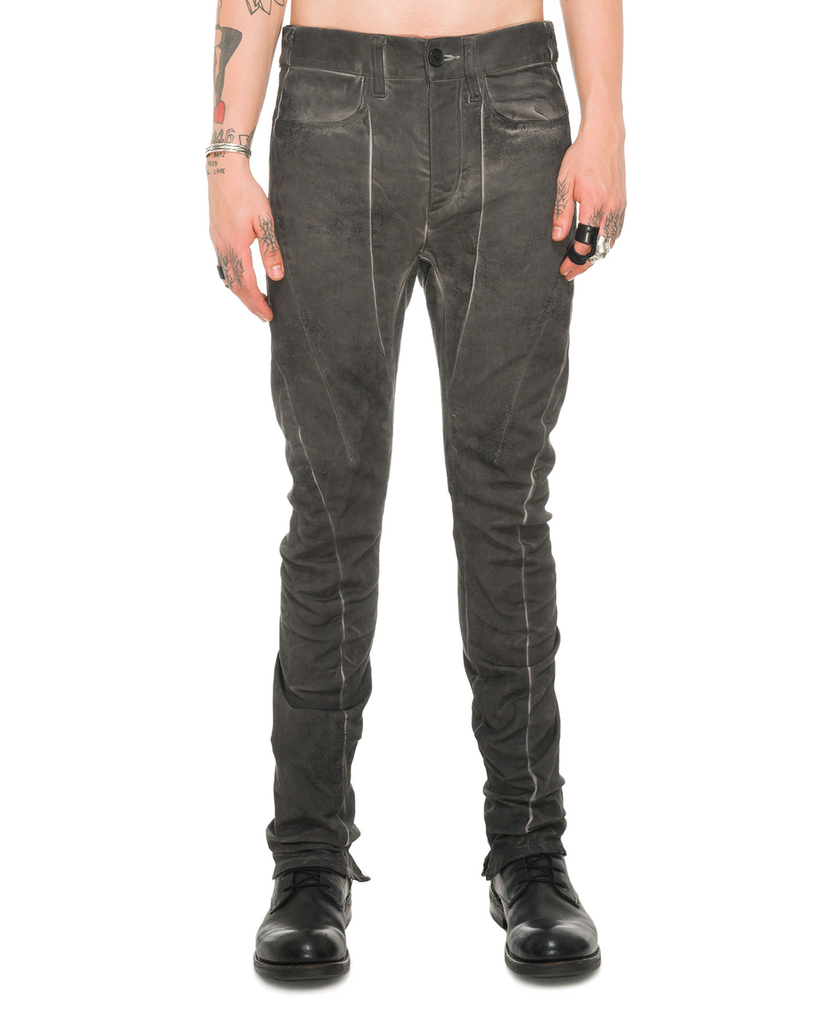 DIRTY COATING COLD DYED CURVED SLIM PANTS