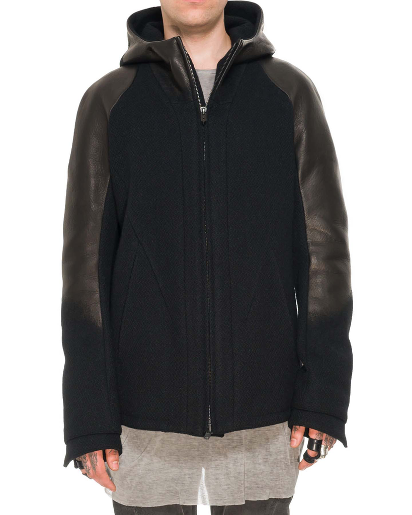 LEATHER NEEDLE PUNCH HOODED JACKET