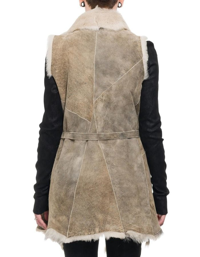 MASNADA SHAWL COLLAR SHEEPSKIN GILET