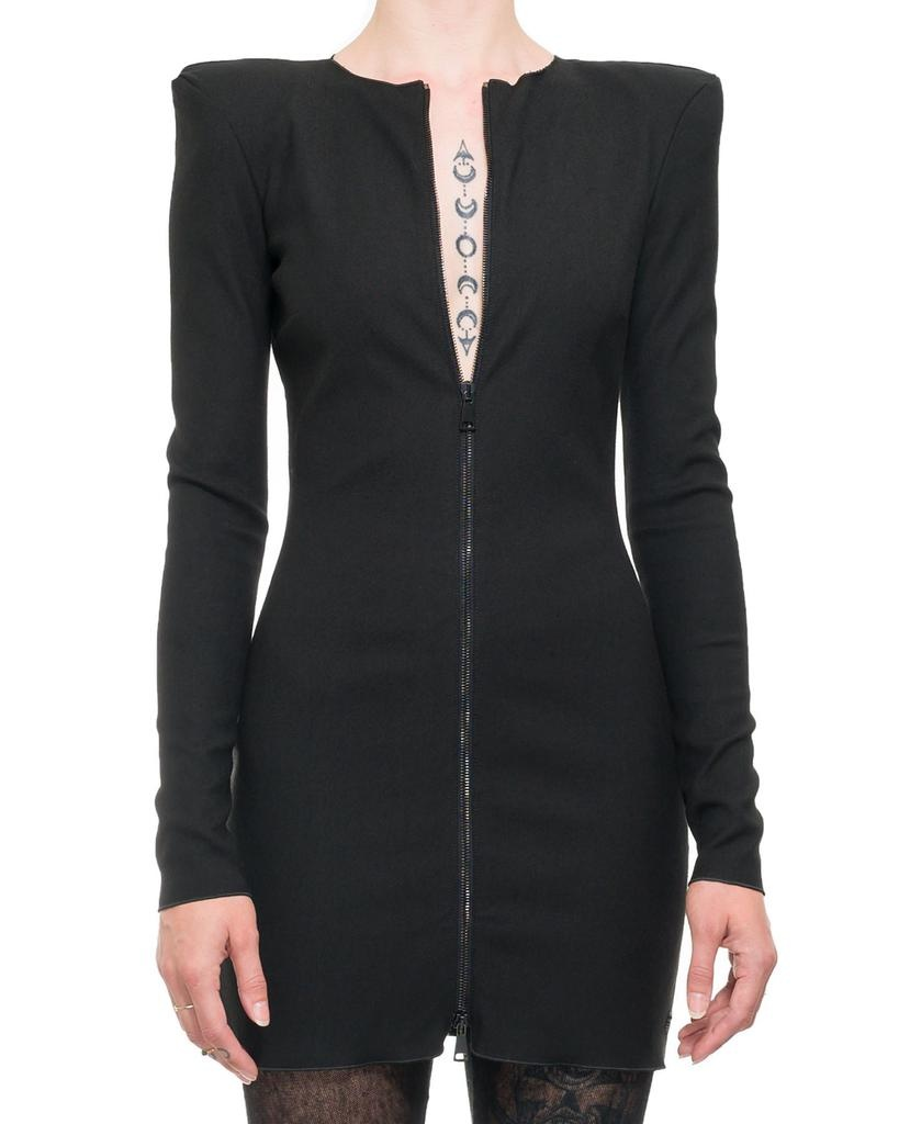 ZIP FRONT SHOULDER PAD DRESS