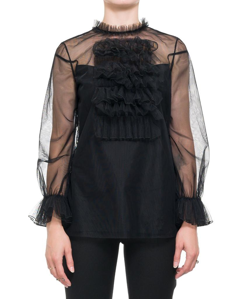 RUFFLE FRONT TULLE BLOUSE