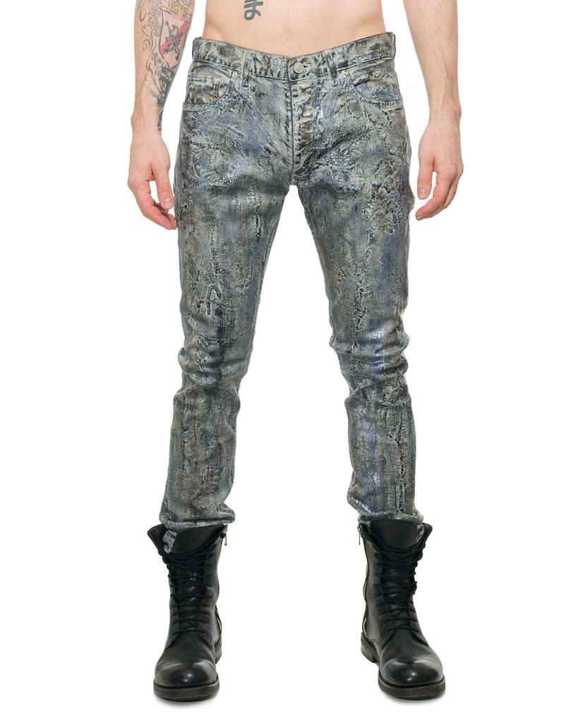 SILVER SNAKE DISTRESSED COATED DENIM