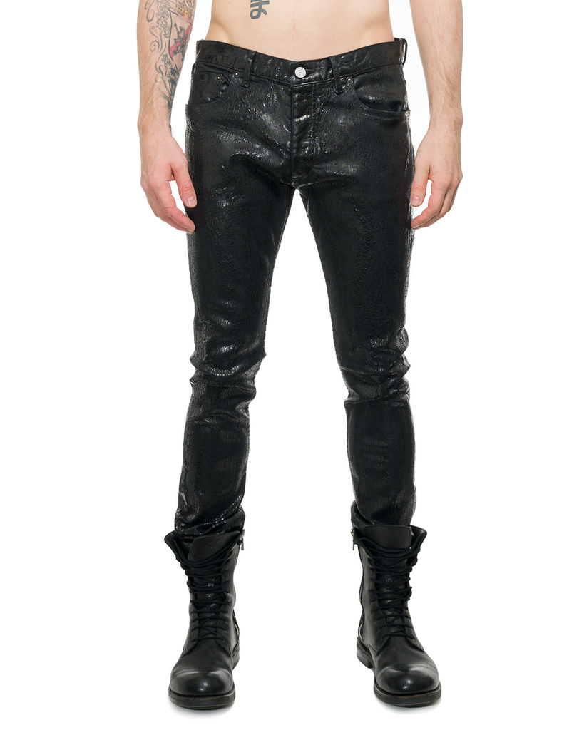 SNAKE CRYSTAL COATED LEATHER EFFECT DENIM