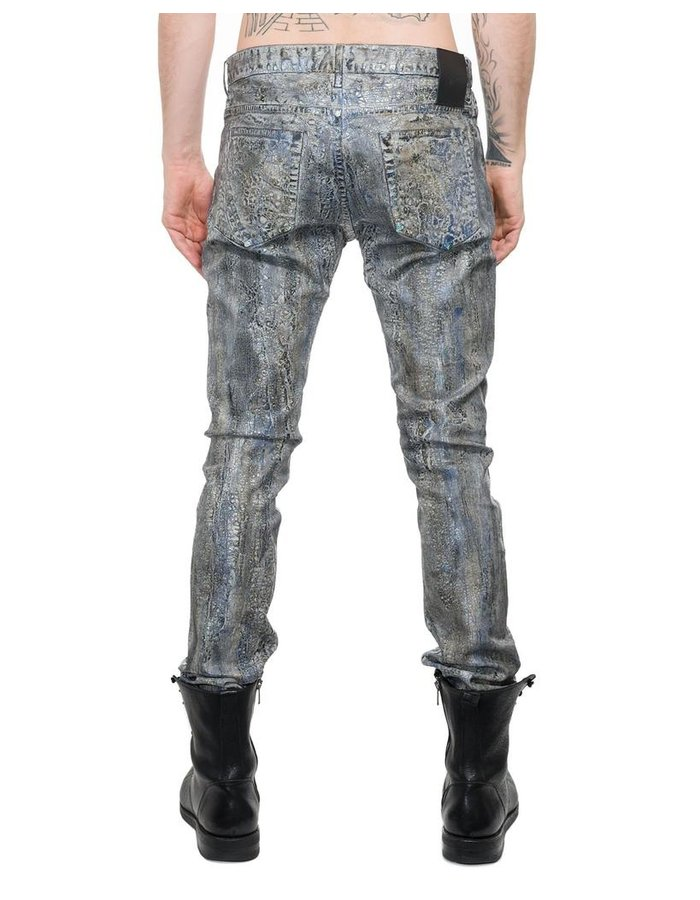 FAGASSENT SILVER SNAKE DISTRESSED COATED DENIM