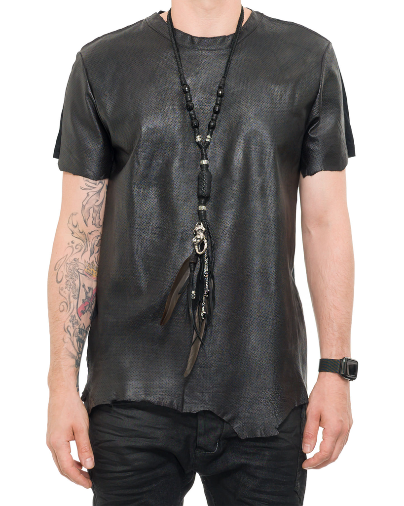 LEATHER STERLING NECKLACE 'FREAK'