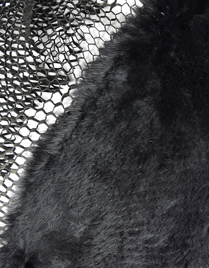 CLAUDIO CUTULI IROCHESI FUR AND LASER LEATHER SCARF