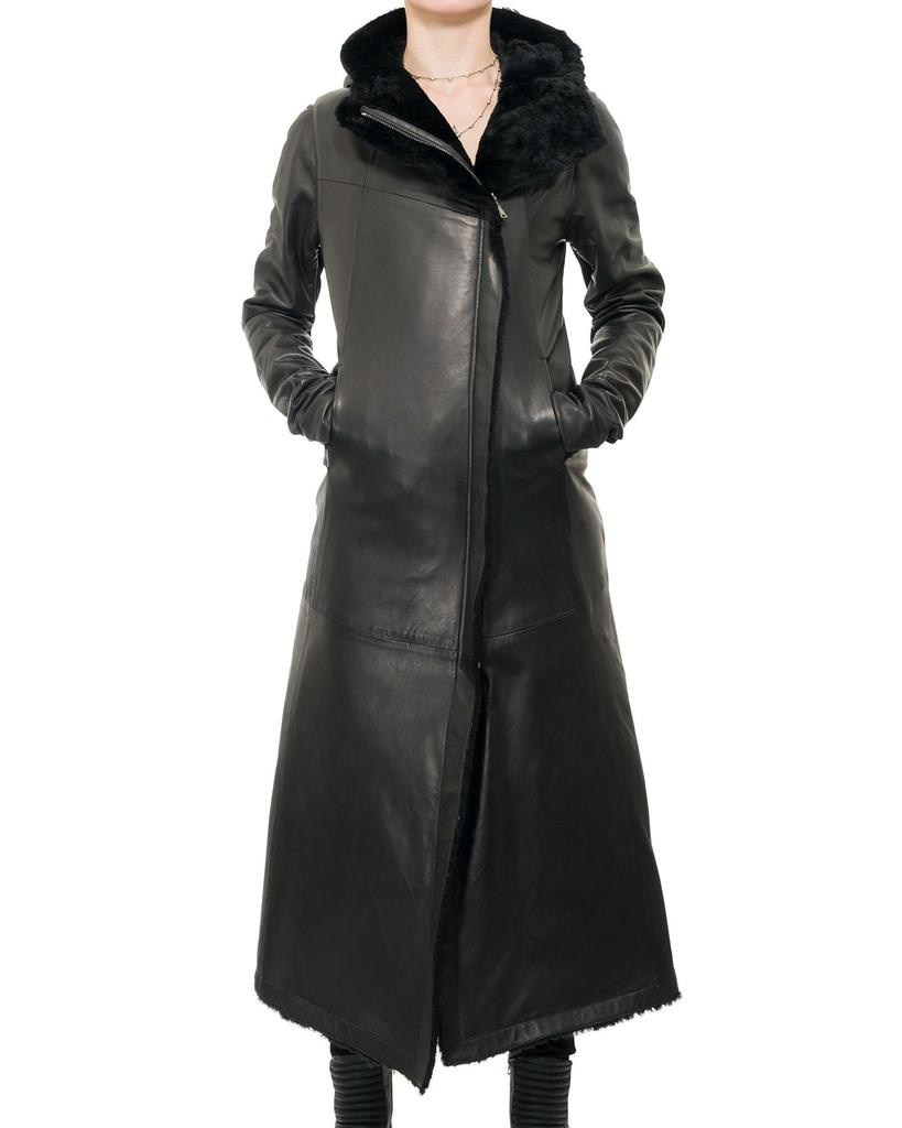 LONG LEATHER SHEARLING HOODED COAT