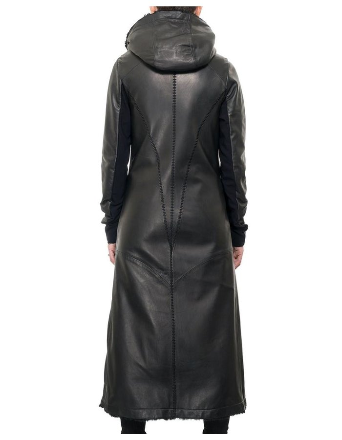 10SEI0OTTO LONG LEATHER SHEARLING HOODED COAT