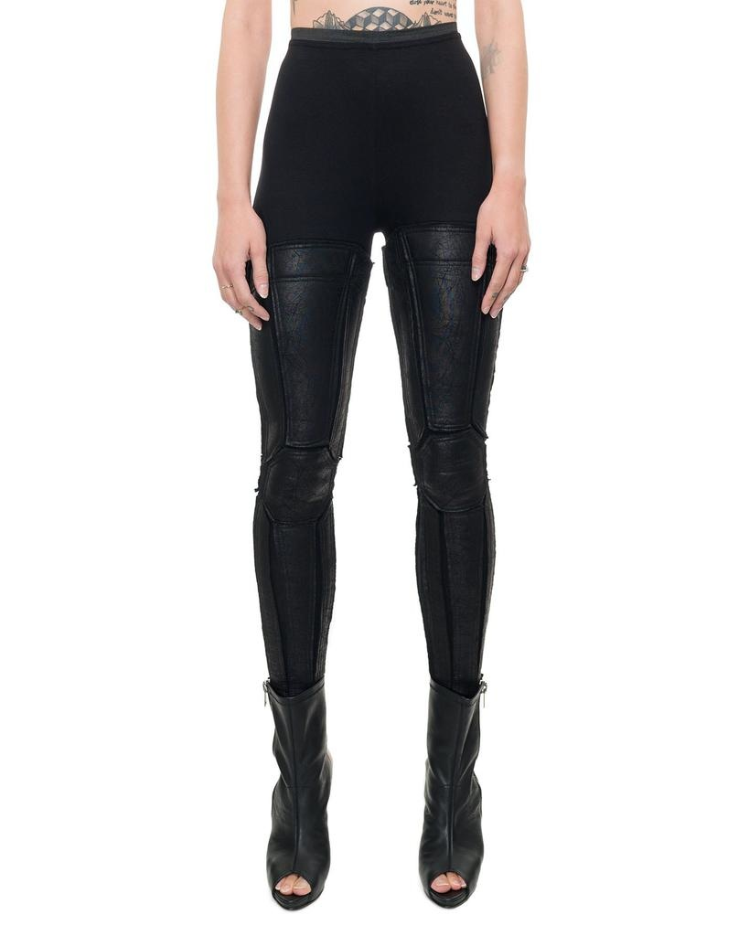 LEGGINGS WITH LEATHER EFFECT PANNELS