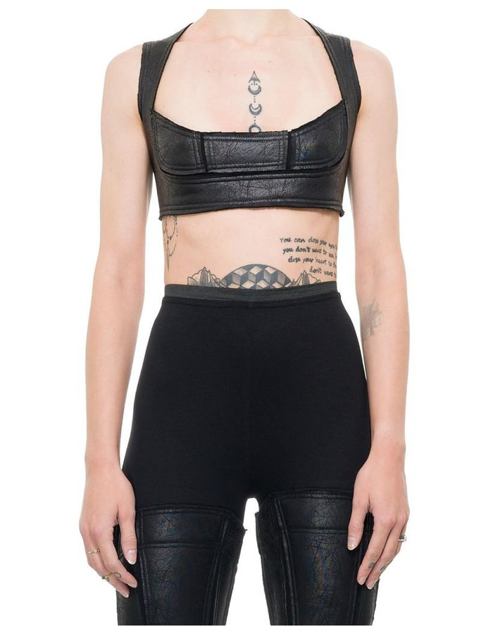 DAVID'S ROAD LEATHER EFFECT CROP TOP