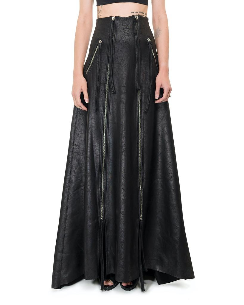 ZIPPERED LEATHER EFFECT MAXI SKIRT