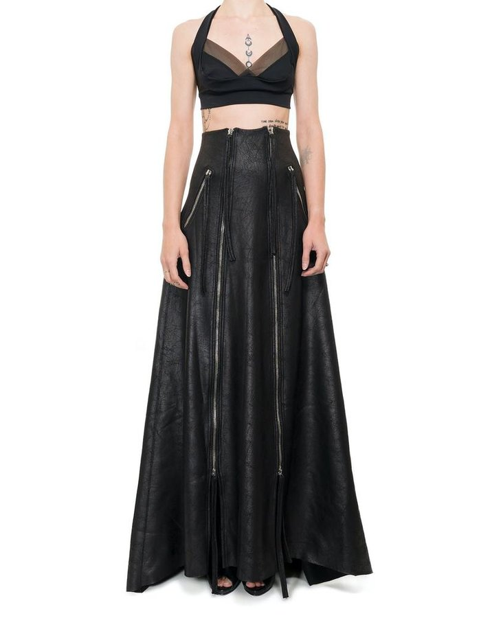 DAVID'S ROAD ZIPPERED LEATHER EFFECT MAXI SKIRT