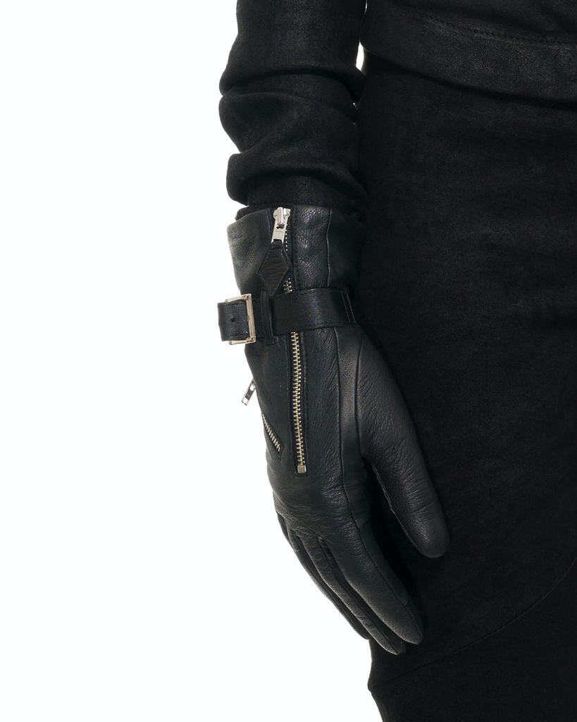 BARBARA GLOVE WITH ZIP AND BUCKLE:CASHMERE LINED