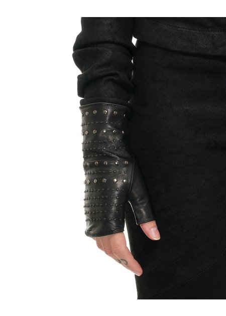 AGNELLE STUDDED FINGERLESS GLOVES :CASHMERE LINING