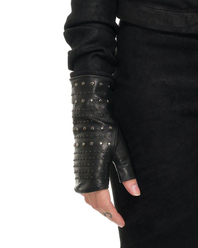STUDDED FINGERLESS GLOVES :CASHMERE LINING