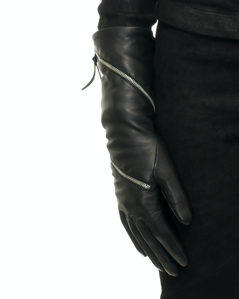 ZIPPER GLOVE WITH CASHMERE LINING