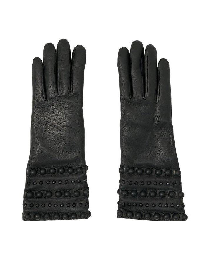 AGNELLE VIRGINIE SPIKE AND STUD GLOVE:CASHMERE LINED