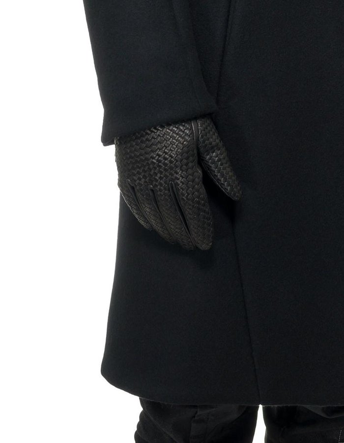 AGNELLE BRAIDED LEATHER GLOVES:ALPACA LINING