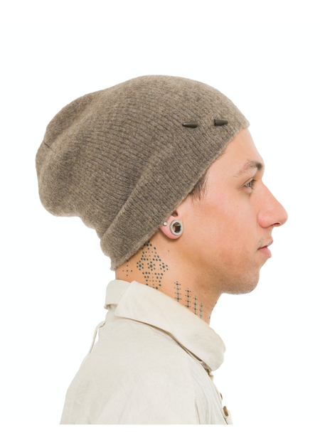 ISABEL BENENATO KNIT YAK BEANIE WITH PIN