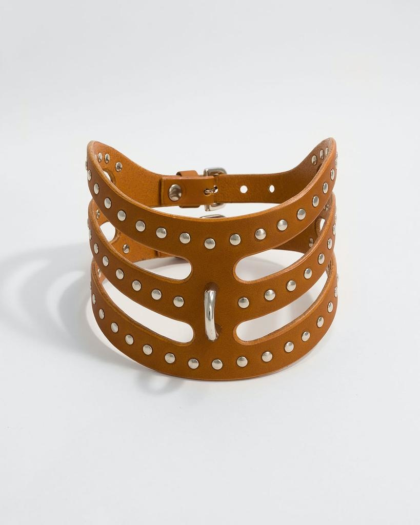 STUDDED CUT OUT POSTURE COLLAR - TAN