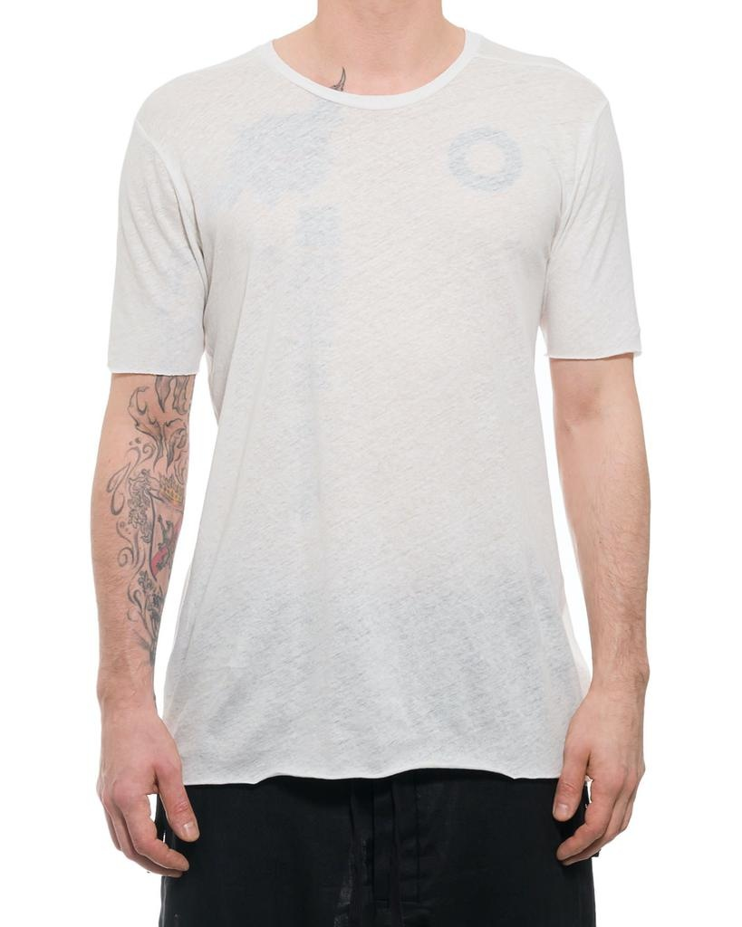 COTTON & LINEN TEE WITH STITCH