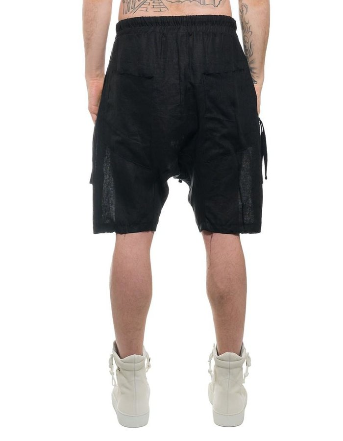 THOM KROM LOW CROTCH LINEN SHORT W/ ZIP POCKET