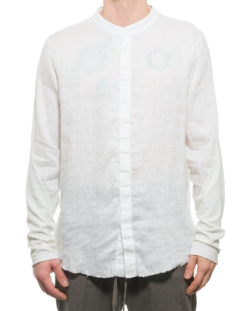 LINEN MANDARIN COLLAR BUTTON UP