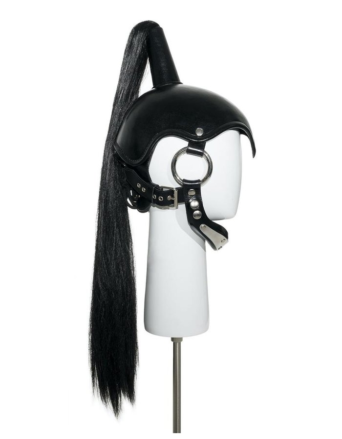 CECILIO LEATHER DESIGNS PONYTAIL HELMET WITH CHIN STRAP