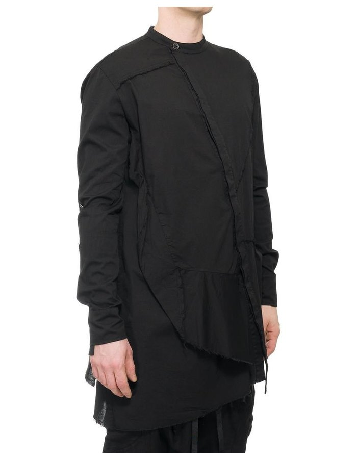 LA HAINE INSIDE US ASYMMETRIC POPLIN BUTTON UP SHIRT