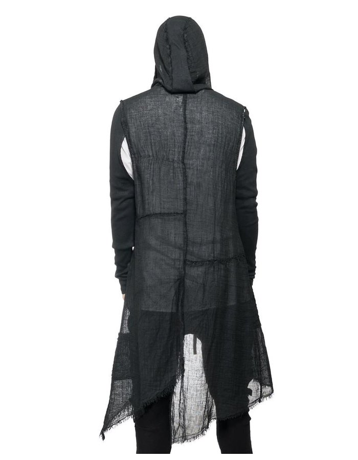 LA HAINE INSIDE US LONG GAUZE VEST WITH REMOVEABLE SLEEVE