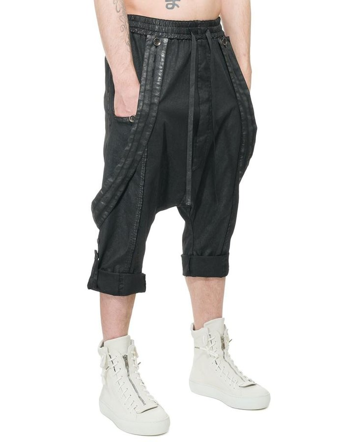 LA HAINE INSIDE US LAMINATED DROP CROTCH SUSPENDER PANTS
