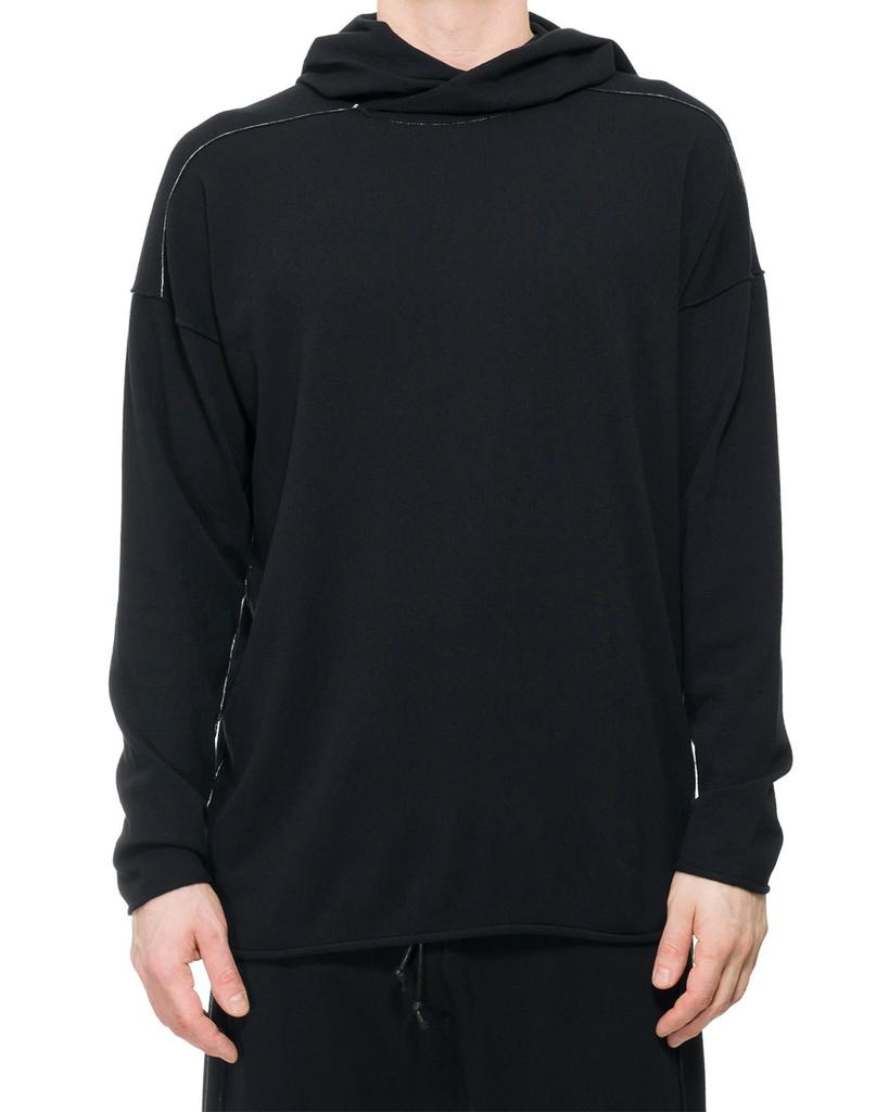 STRETCH CONTRAST STITCH  HOODED TOP