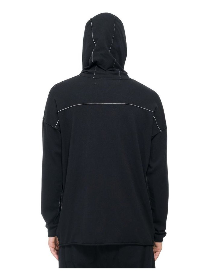 ISABEL BENENATO STRETCH CONTRAST STITCH  HOODED TOP